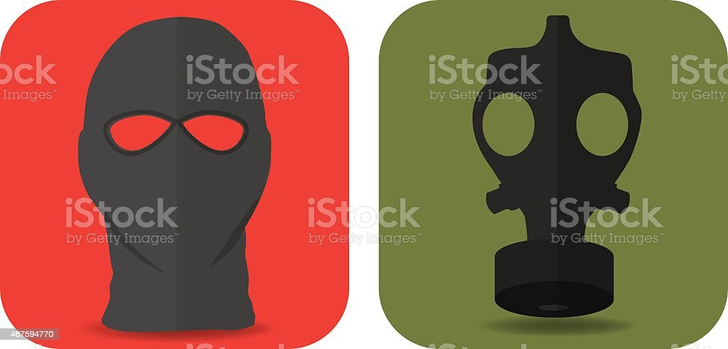 Military masks vector art illustration