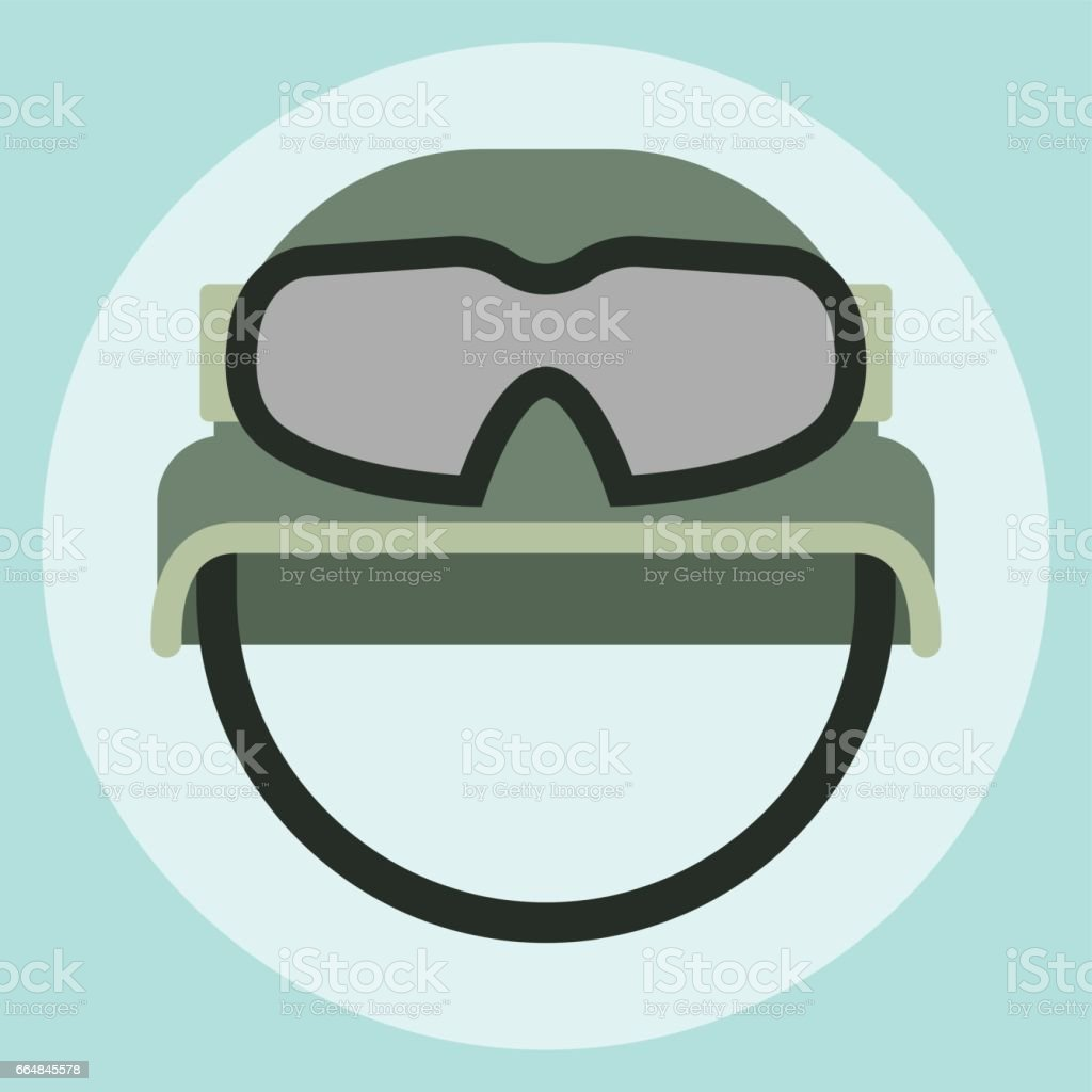 Military modern camouflage helmet army symbol of defense protection and soldier uniform hat protective steel armed equipment vector illustration vector art illustration