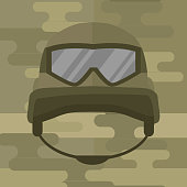 Military modern camouflage helmet army symbol of defense protection and soldier uniform hat protective steel armed equipment vector illustration