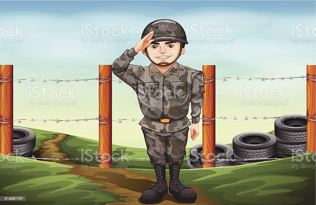 Military officer vector art illustration