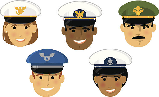 Military Officers A collection of cartoon portraits of American military officers, both male and female, with official headgear representing the army, navy, air force, marines, and coast guard. The hats are all interchangeable. air force stock illustrations
