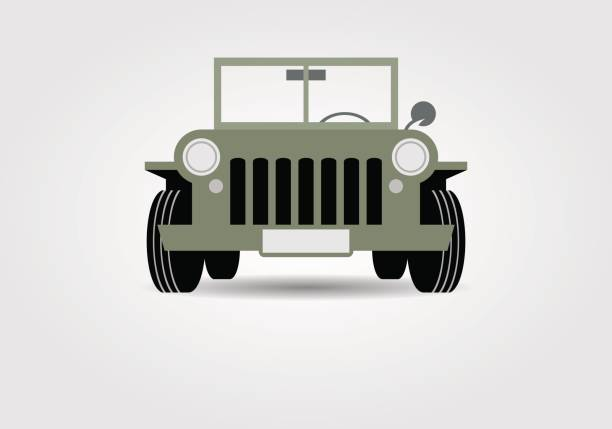 Military off-road car vector art illustration