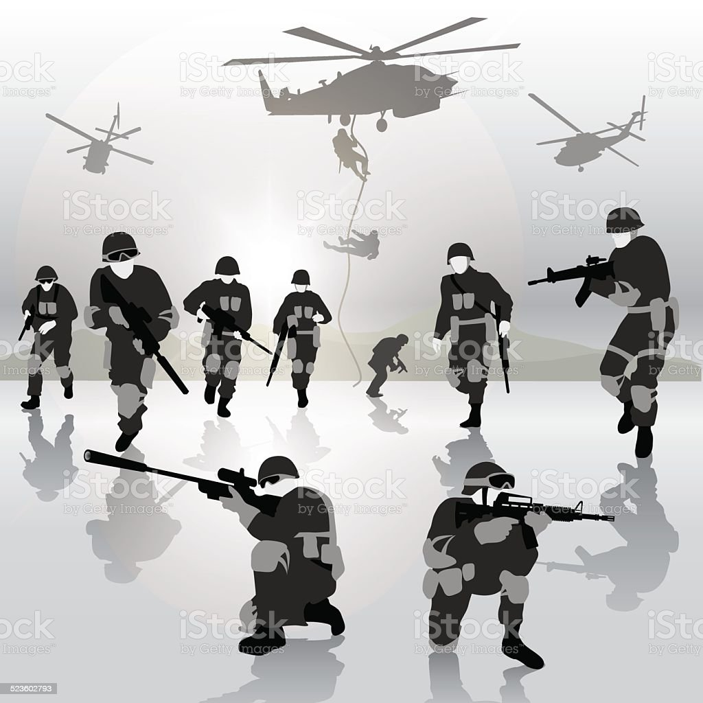 Military operation vector art illustration