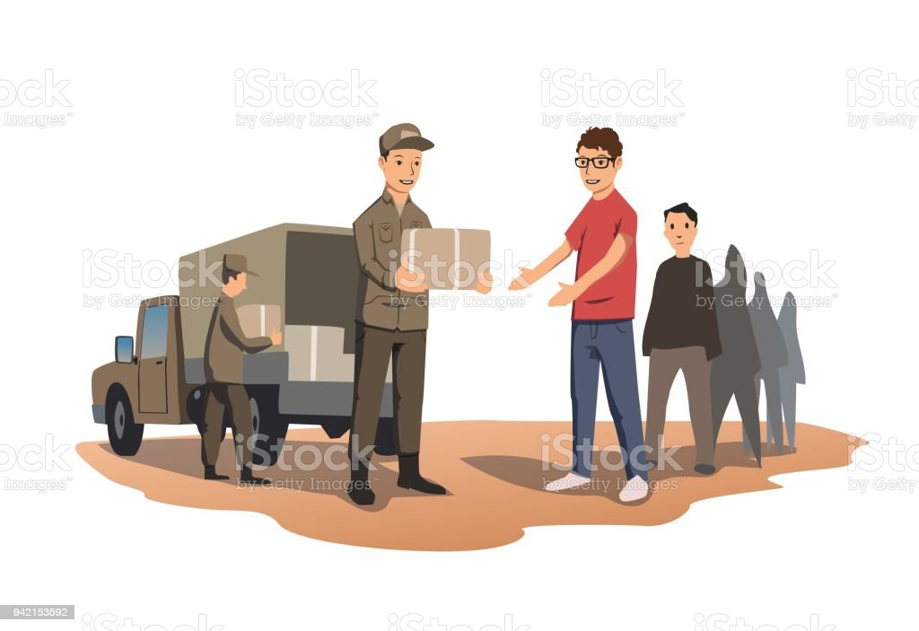 Military or volunteers distribute boxes with humanitarian aid. The distribution of food and basic necessities. Vector illustration isolated on white background. vector art illustration