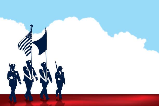 bildbanksillustrationer, clip art samt tecknat material och ikoner med amerikanska militärparad bakgrund, holiday - parad