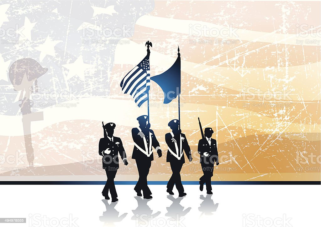 Military Parade, Fallen Soldier & American Flag Grunge Style royalty-free stock vector art