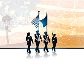"Graphic silhouette background illustration of Military Parade Soldiers Carrying Flags with the word ""HONOR."" Check out my ""World War Two"" light box for more."