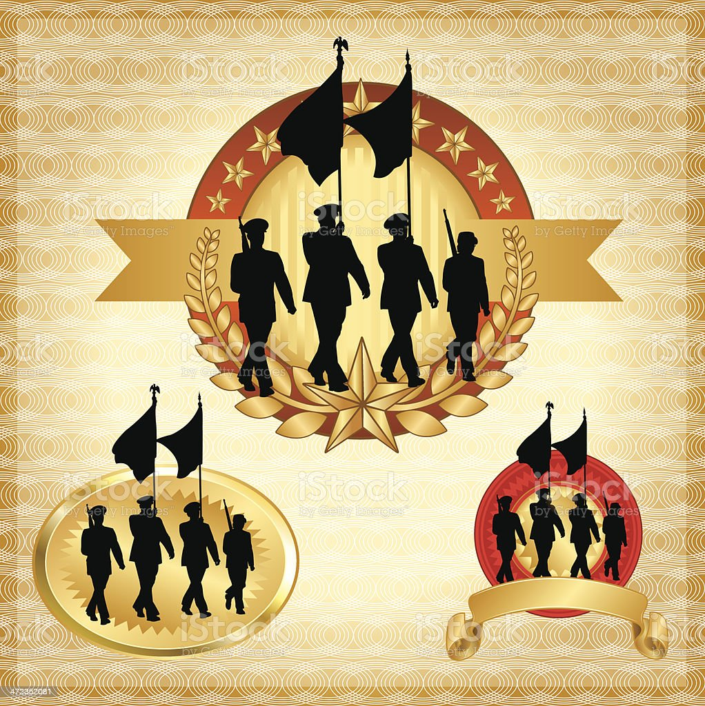 Military Parade Soldier Banners and Icons royalty-free stock vector art
