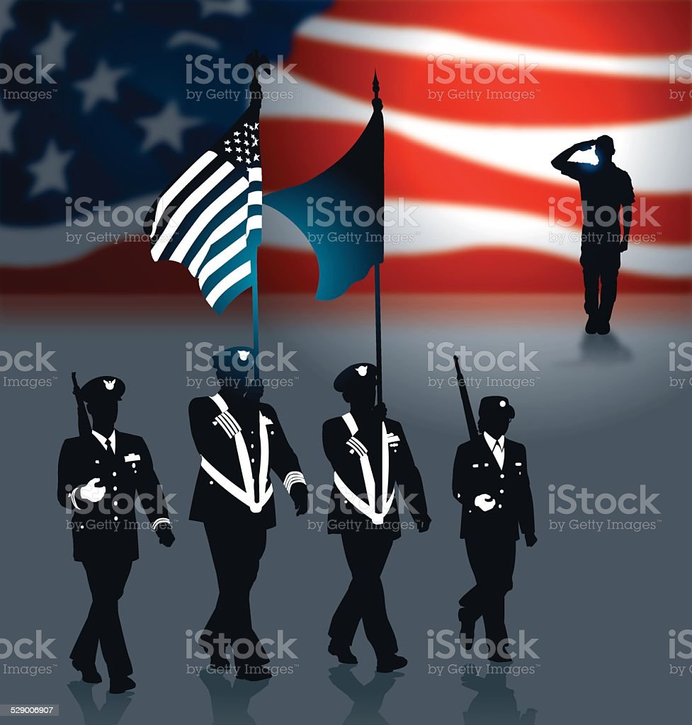 Military Parade Soldier Salute US Flag Background vector art illustration