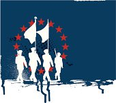"""Graphic silhouette background illustration of Military Parade Soldiers Carrying Flags. Check out my """"World War Two"""" light box for more."""