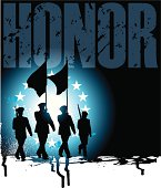 """Graphic silhouette background illustration of Military Parade Soldiers Carrying Flags with the word """"HONOR."""" Check out my """"World War Two"""" light box for more."""