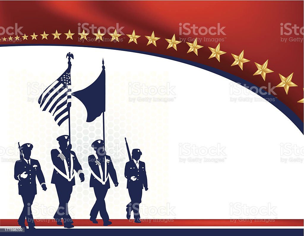 Military Parade Soldiers with American Flag - Armed Forces royalty-free stock vector art