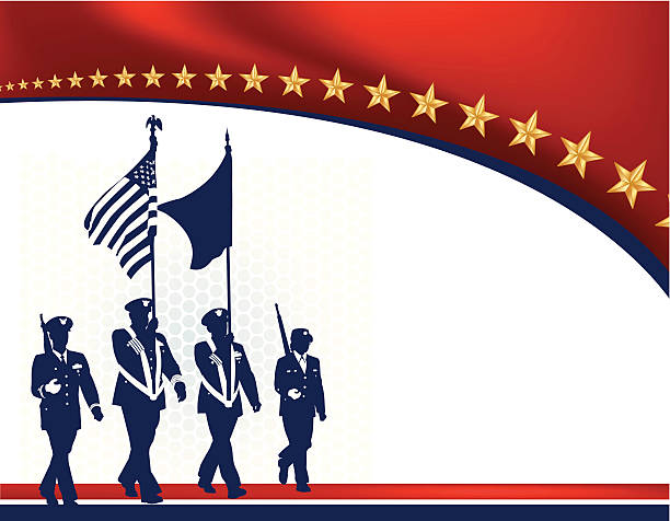 "Military Parade Soldiers with American Flag - Armed Forces Military Parade Soldiers with American Flag - Armed Forces. Graphic silhouette background illustration of Military Parade Soldiers Carrying Flags. Check out my ""World War Two"" light box for more. major military rank stock illustrations"