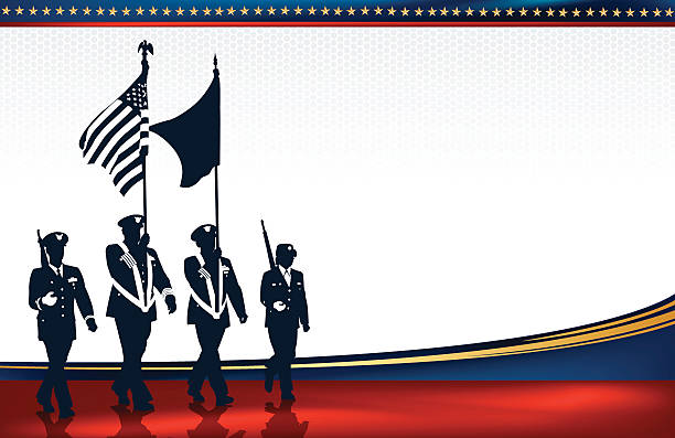 "Military Parade Soldiers with American Flag Background Military Parade Soldiers. Graphic silhouette background illustration of Military Parade Soldiers Carrying Flags. Add your own flag design. Check out my ""World War Two"" light box for more. major military rank stock illustrations"