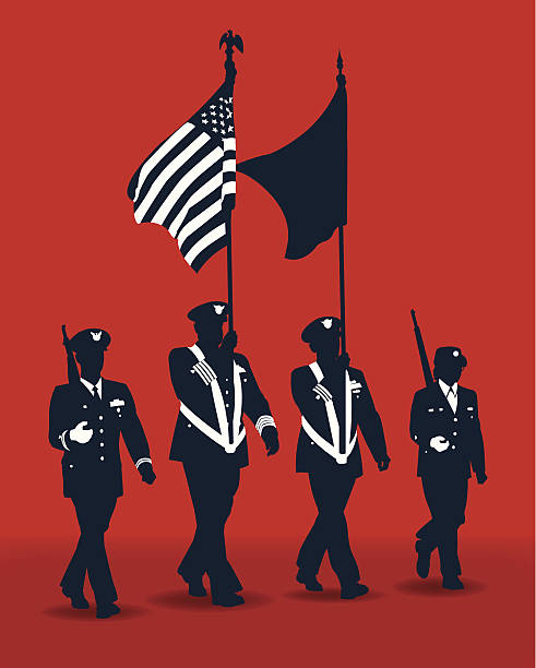 "Military Parade Soldiers with American Flag Military Parade Soldiers. Graphic silhouette illustration of Military Parade Soldiers carrying Flags. Check out my ""World War Two"" light box for more. major military rank stock illustrations"