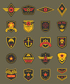 Military patches, chevrons and army badges vector templates. Marine patrol, naval and air military forces, captain patch emblem shields with stars, ribbons, heraldic wings, navy anchor and skull