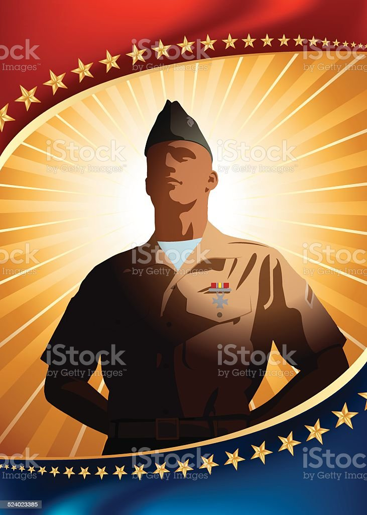 US Military Patriotic Background vector art illustration