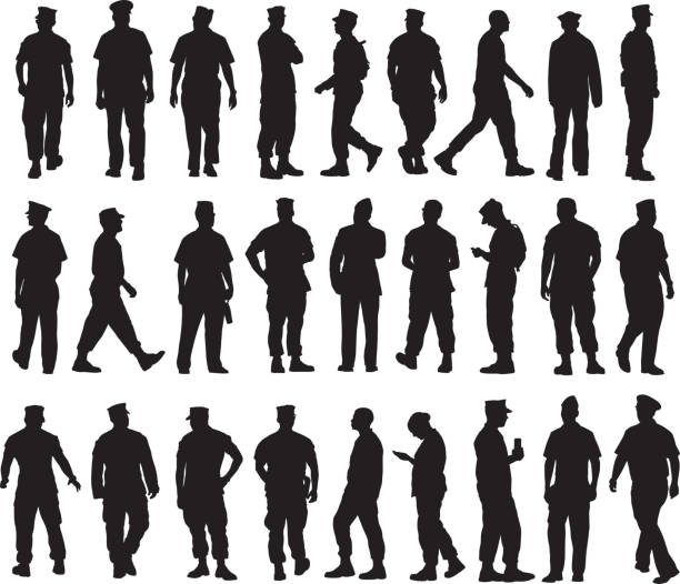Military personal Silhouettes Vector silhouettes of twenty-seven military personal. military uniform stock illustrations
