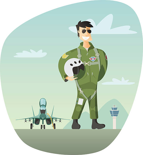 Military pilot and fighter jet in background Military pilot and fighter jet in background flight suit stock illustrations