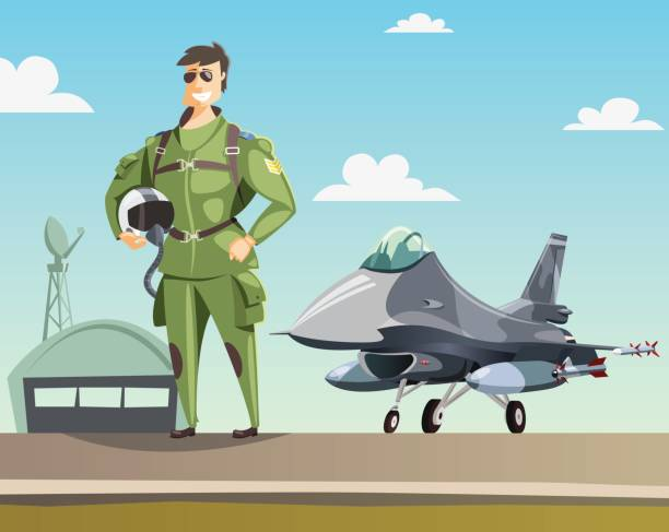 Military pilot and jet fighter on runway Military pilot and jet fighter on runway flight suit stock illustrations