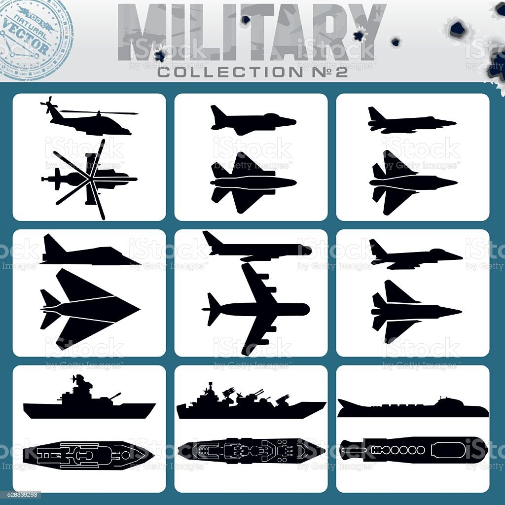 Military Planes and Warships vector art illustration