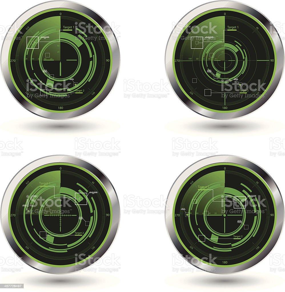 Military radar screen royalty-free stock vector art