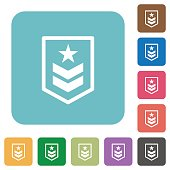 Military rank rounded square flat icons