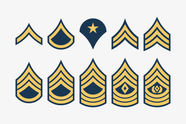 Military Ranks Stripes and Chevrons. Vector Set Army Insignia Military Ranks Stripes and Chevrons. Vector Set Army Insignia. Sergeant's Staff sergeant stock illustrations