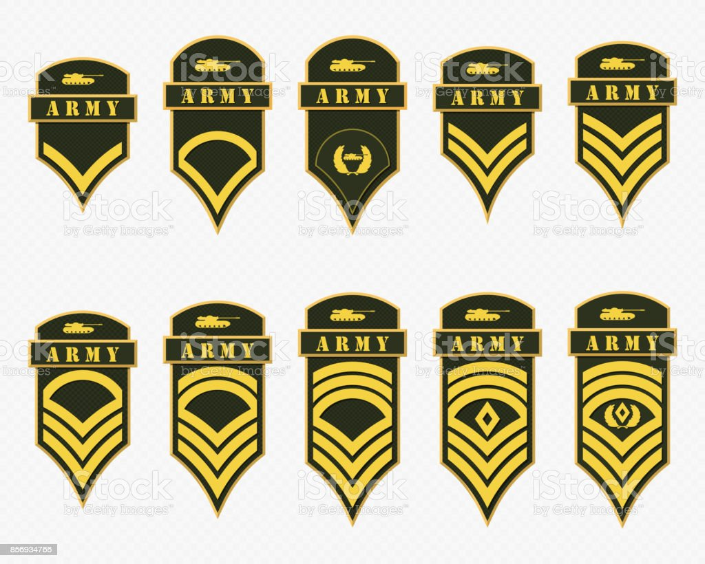 Military Ranks Stripes And Chevrons Vector Set Army Insignia Stock