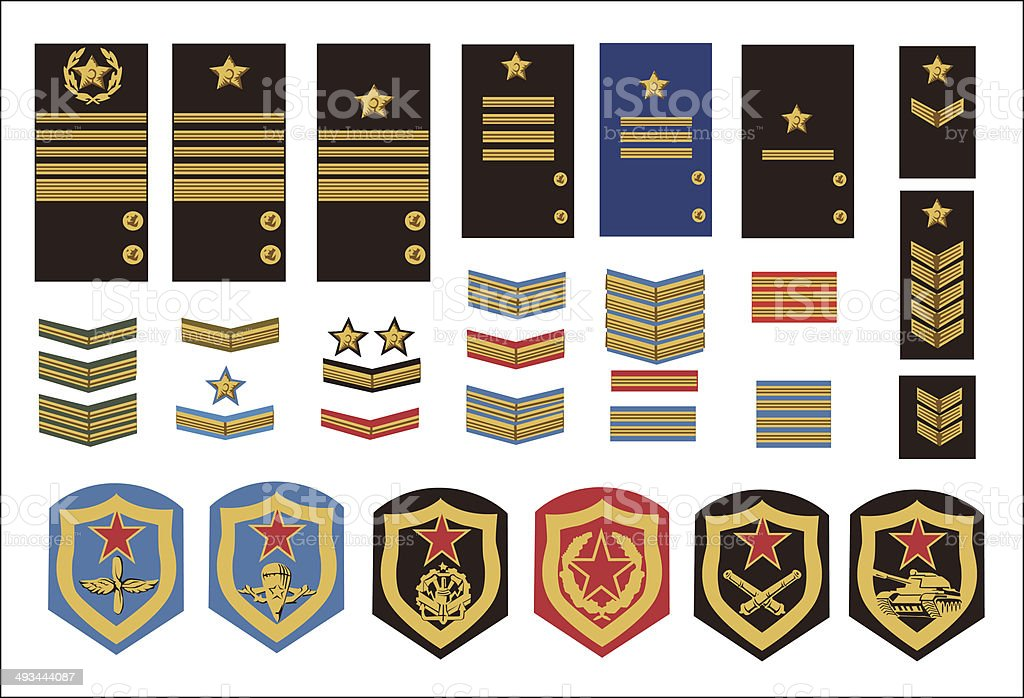 military ranks vector art illustration