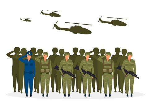 Military regime flat vector illustration. Political system metaphor. Form of government. Military officer dictatorship. Government during war conflict. Army institution cartoon characters