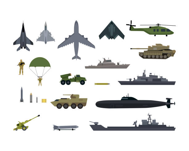 Military Resources Army Icons Set. War Ammunition Military resources army icons set. War and ammunition, trunk airplane vehicle submarine army and bullet, ammo weapon, inventory gun, rocket and bazooka, automatic and launch, war ship. Vector military airplane stock illustrations