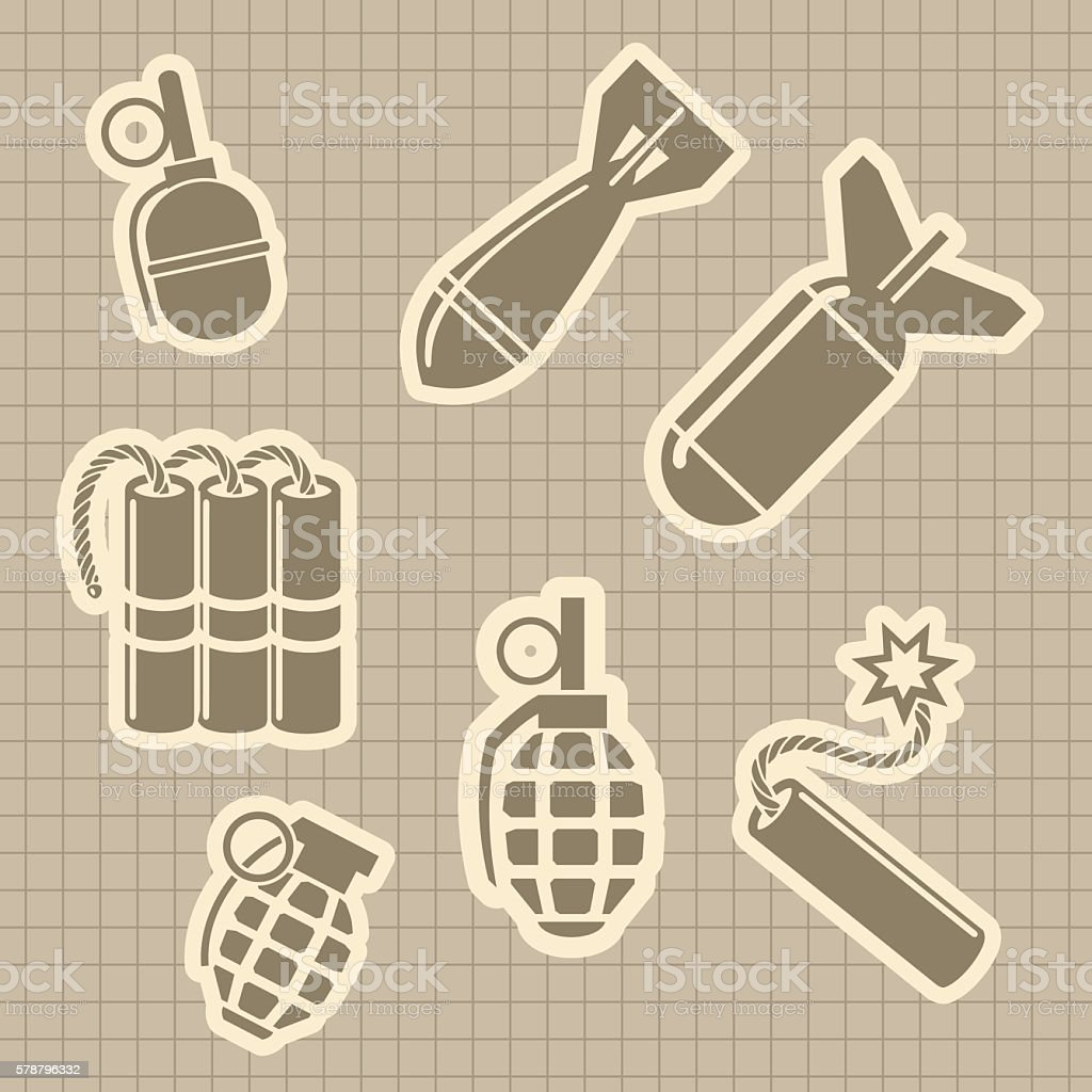 Military rocket and dynamit icons vector art illustration