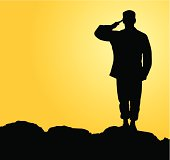 US Airman saluting in the sunset.