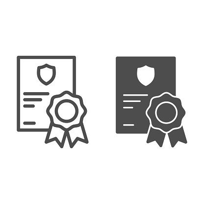 Military service certificate line and solid icon, patriotic protection of country concept, graduation soldier from army sign on white background, diploma of completion icon. Vector graphics.