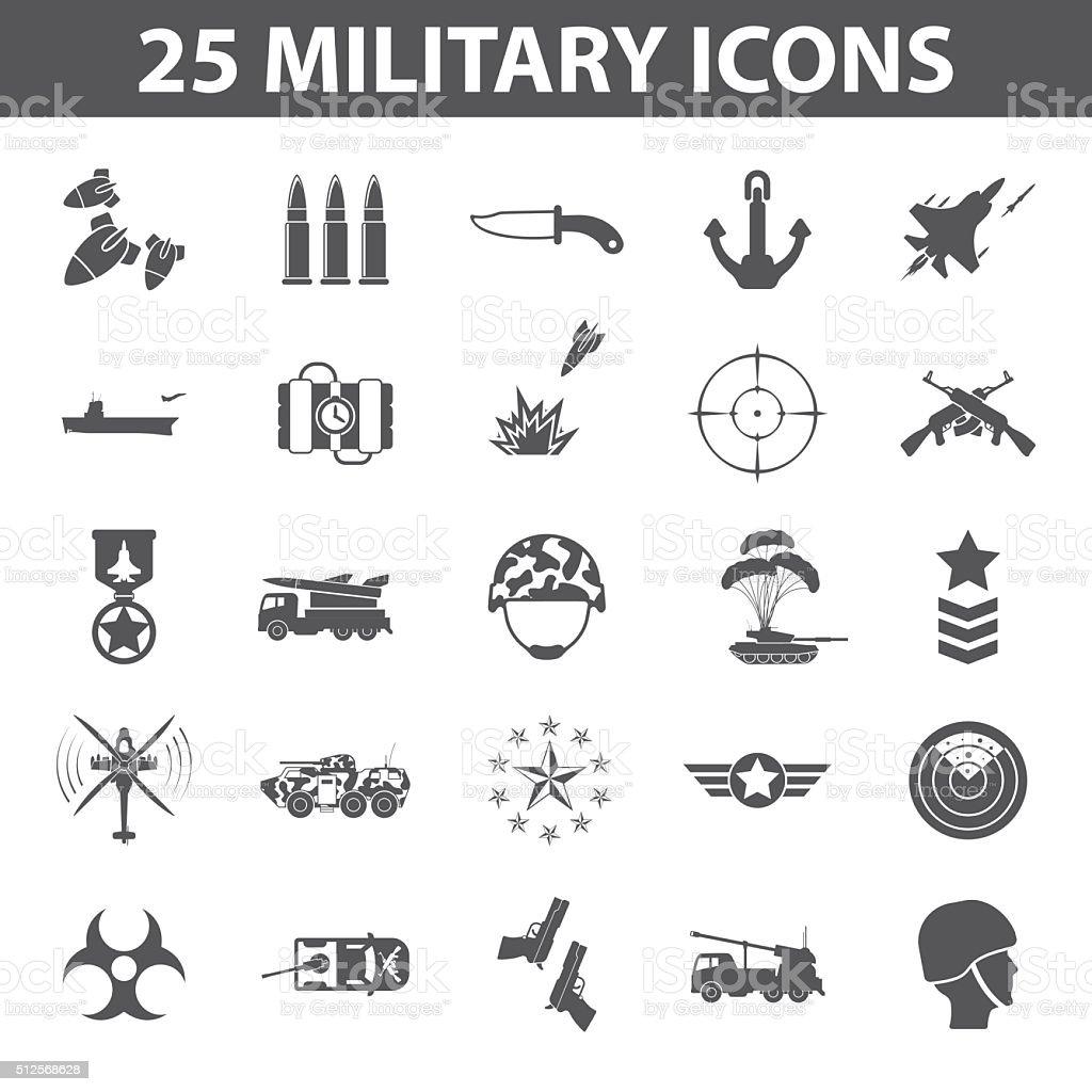 Militär Satz 25 Schwarz Einfache Symbole Armee Und Waffesymbol Stock ...