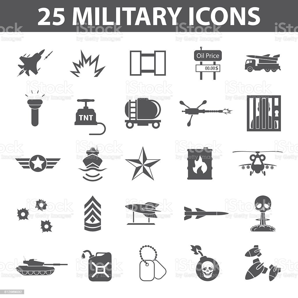 Military set 25 black simple icons. Army and weapon icon. vector art illustration