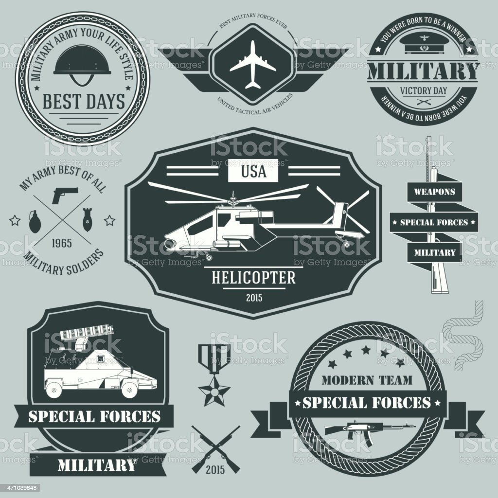 Military Set Label Template Of Emblem Element For Your Product Stock ...