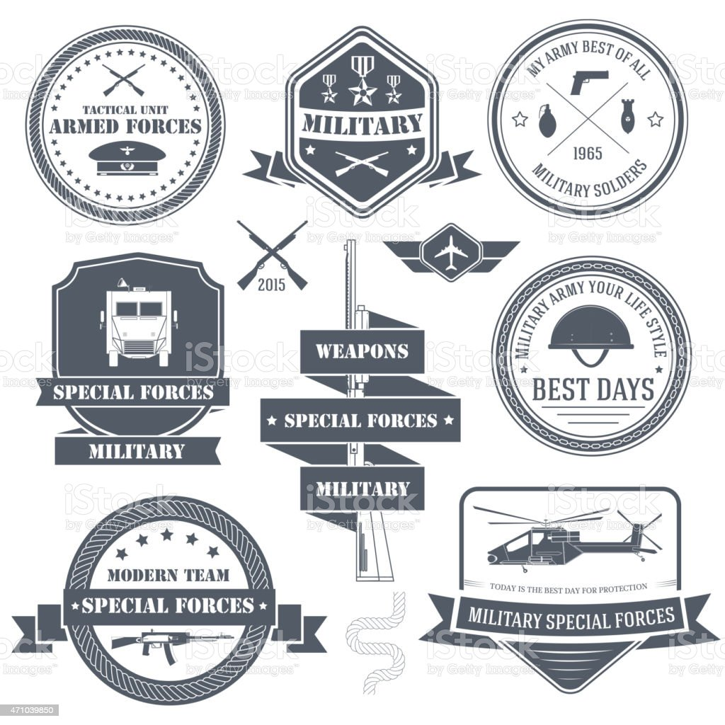 military set label template of emblem element for your product vector art illustration