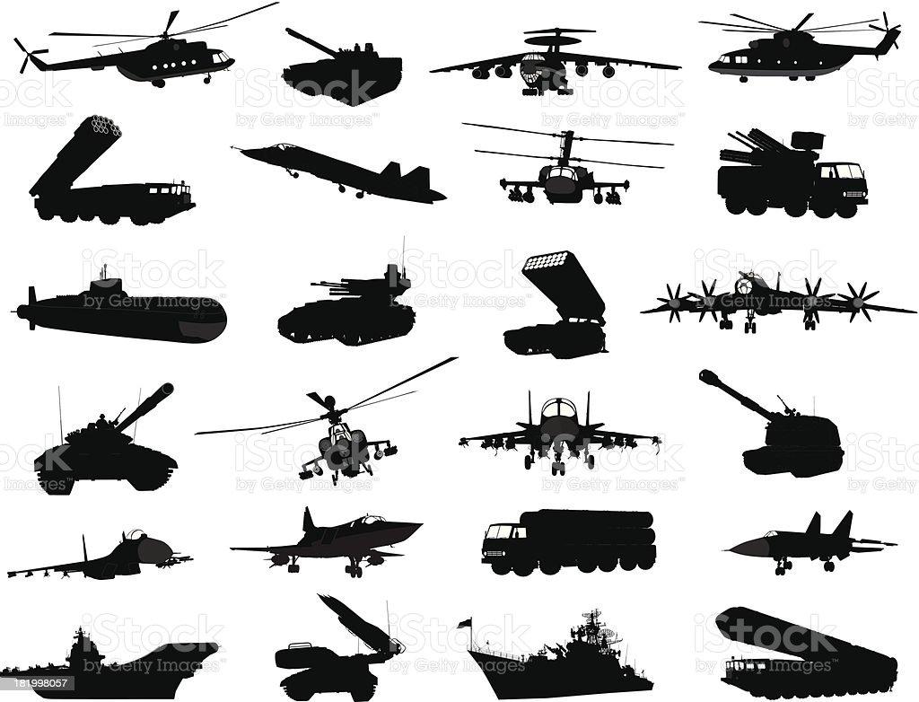 Military set vector art illustration