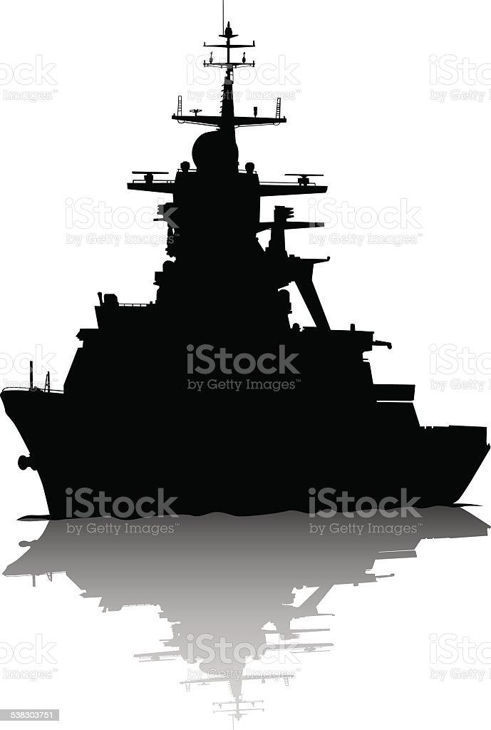 Military ship vector art illustration