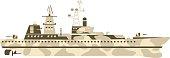 Military ship vector illustration