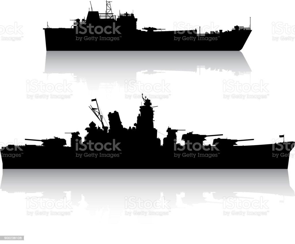 Military Ships vector art illustration