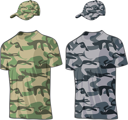 Military Shirts and caps templates