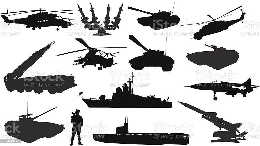 Military silhouettes  set vector art illustration