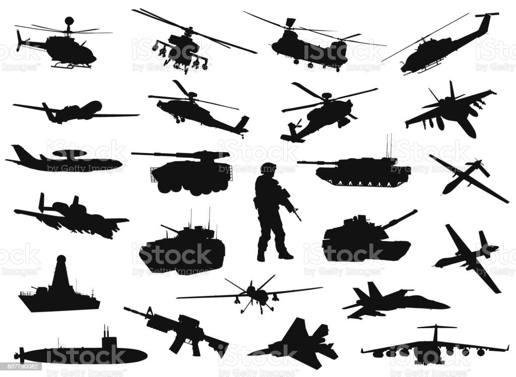 Military silhouettes vector art illustration