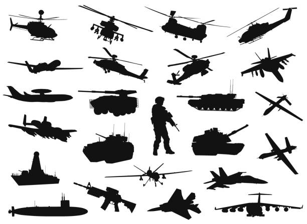 Military silhouettes Vector military silhouettes collection. EPS 8 air force stock illustrations