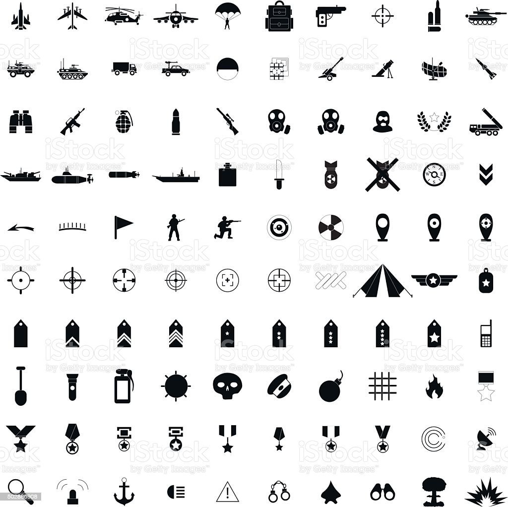 100 military simple black icons vector art illustration