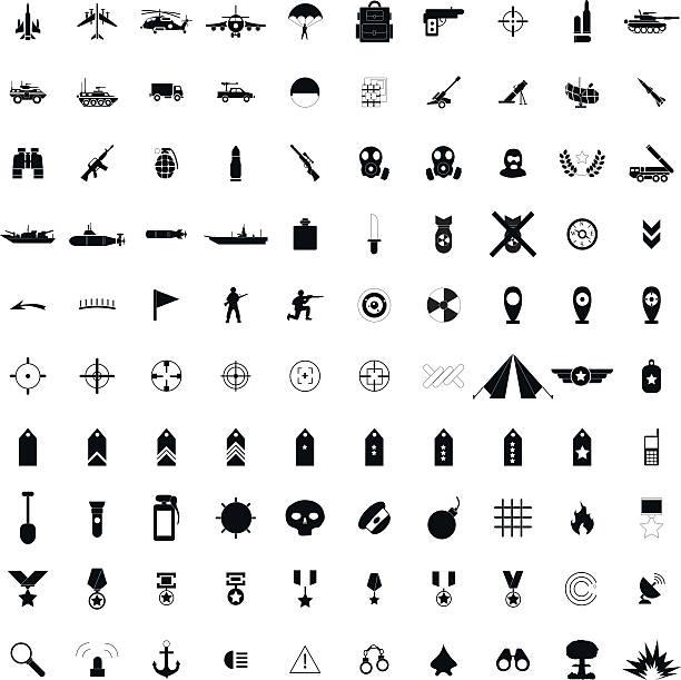 ilustrações, clipart, desenhos animados e ícones de 100 militar preto ícones simples - forças armadas