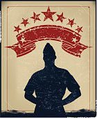 """Retro silhouette background illustration of a Military Soldier or Boy Scout. Check out my """"World War Two"""" light box for more."""